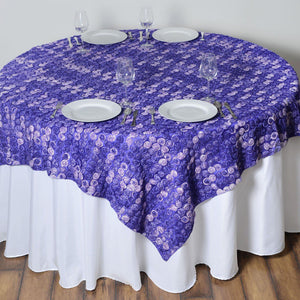 "72""x72"" Triple-Tone Mini-Rosettes Table Overlays - Purple Umbre"