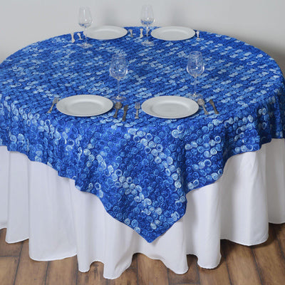 "72""x72"" Triple-Tone Mini-Rosettes Table Overlays - Royal Blue Umbre"