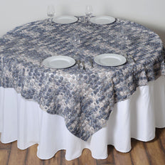 "72"" x 72"" Silver Satin Mini Rosette Square Table Overlays 