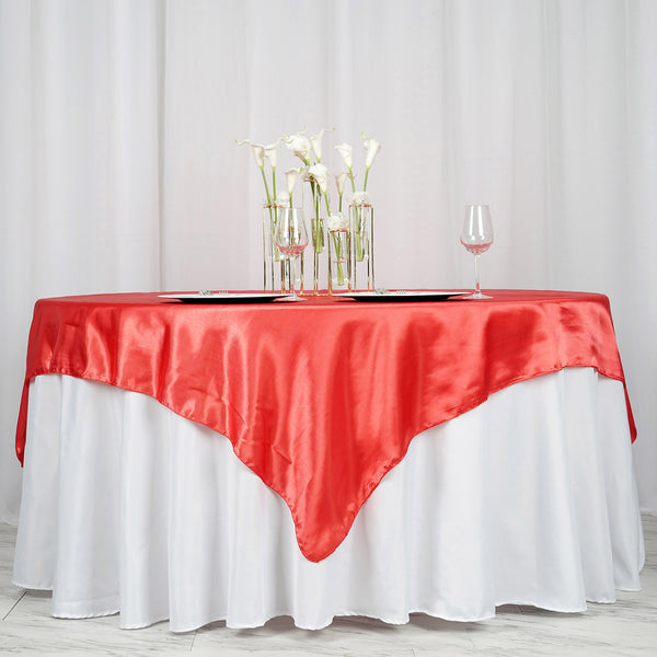 "72"" x 72"" Coral Red Seamless Satin Square Tablecloth Overlay"