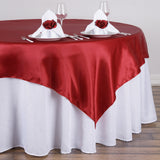 "72"" x 72"" Wine Seamless Satin Square Tablecloth Overlay"