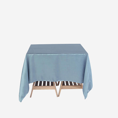 "72"" x 72"" Dusty Blue Seamless Square Satin Tablecloth Overlay"
