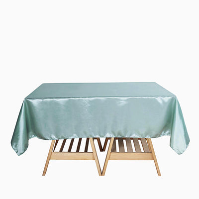 "72"" x 72"" Dusty Sage Seamless Satin Square Tablecloth Overlay"