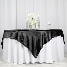 "72"" SATIN Square Overlay For Wedding Catering Party Table Decorations - BLACK"
