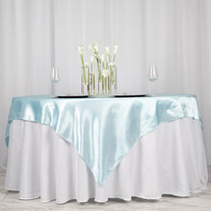 "72"" SATIN Square Overlay For Wedding Catering Party Table Decorations - LIGHT BLUE"