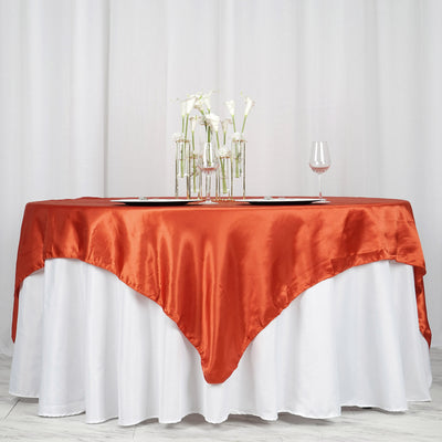 "72"" x 72"" Burnt Orange Seamless Satin Square Tablecloth Overlay"