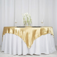 "72"" SATIN Square Overlay For Wedding Catering Party Table Decorations - CHAMPAGNE"