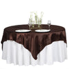 "72"" x 72"" Chocolate Seamless Satin Square Tablecloth Overlay"