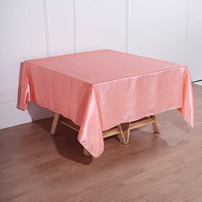 72 x 72 Coral Seamless Satin Square Tablecloth Overlay