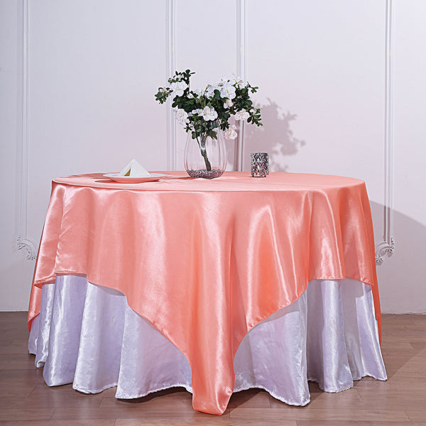 "72"" x 72"" Coral Seamless Satin Square Tablecloth Overlay"