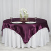 "72"" x 72"" Eggplant Seamless Satin Square Tablecloth Overlay"