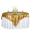 "72"" x 72"" Gold Seamless Satin Square Tablecloth Overlay"