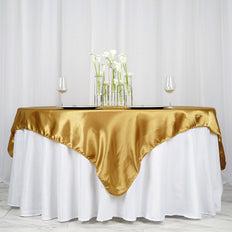 "72"" SATIN Square Overlay For Wedding Catering Party Table Decorations - GOLD"