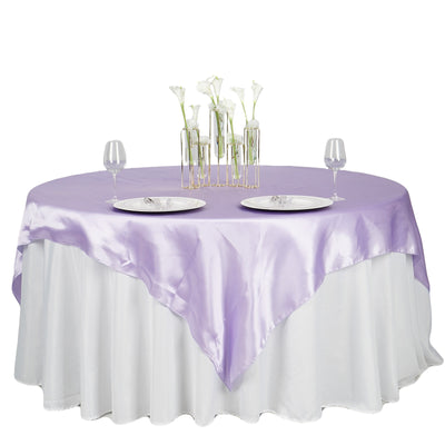 "72"" x 72"" Lavender Seamless Satin Square Tablecloth Overlay"