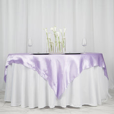 "72"" SATIN Square Overlay For Wedding Catering Party Table Decorations - LAVENDER"
