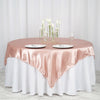 "72"" x 72"" Dusty Rose Seamless Satin Square Tablecloth Overlay"