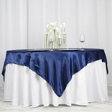"72"" SATIN Square Overlay For Wedding Catering Party Table Decorations - NAVY BLUE"