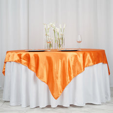 "72"" x 72"" Orange Seamless Satin Square Tablecloth Overlay"