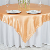 "72"" x 72"" Peach Seamless Satin Square Tablecloth Overlay"