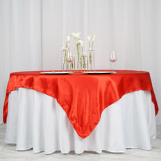 "72"" SATIN Square Overlay For Wedding Catering Party Table Decorations - RED"