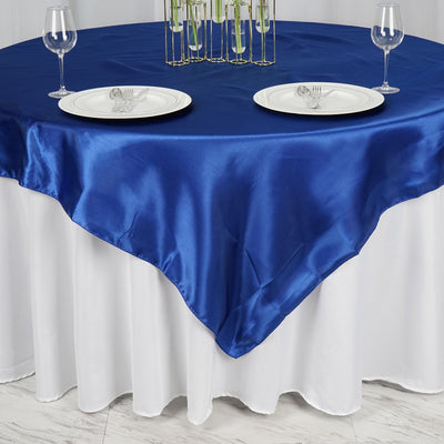 "72"" x 72"" Royal Blue Seamless Satin Square Tablecloth Overlay"