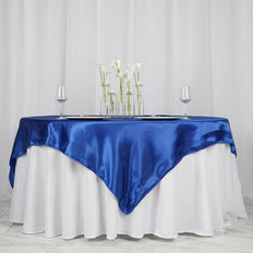 "72"" SATIN Square Overlay For Wedding Catering Party Table Decorations - ROYAL BLUE"