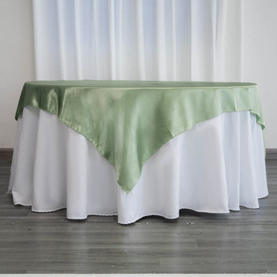 "72"" x 72"" Sage Green Seamless Satin Square Tablecloth Overlay - Clearance SALE"