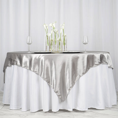"72"" x 72"" Silver Seamless Satin Square Tablecloth Overlay"