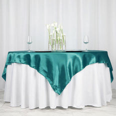 "72"" SATIN Square Overlay For Wedding Catering Party Table Decorations - TURQUOISE"