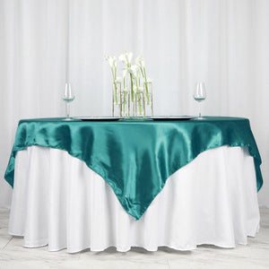 "72"" x 72"" Turquoise Seamless Satin Square Tablecloth Overlay"