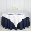 "72"" x 72"" White Seamless Satin Square Tablecloth Overlay"