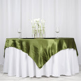 "72"" x 72"" Moss Green Seamless Satin Square Tablecloth Overlay"