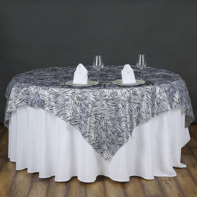 "72"" Taffeta Velvet Tiger Animal Print Overlay For Wedding Party Banquet Event Restaurant  - Black / White"