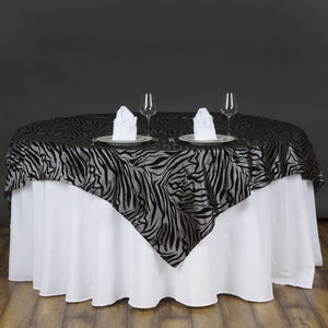 "72""x72"" Taffeta Overlay Zebra Animal Print For Wedding Party Banquet Event Restaurant - Silver/Black"