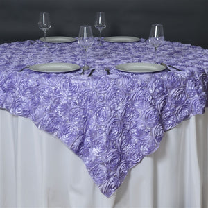 "85""x85"" LAVENDER Wholesale Grandiose Rosette 3D Satin Overlay For Wedding Party Event Decoration"