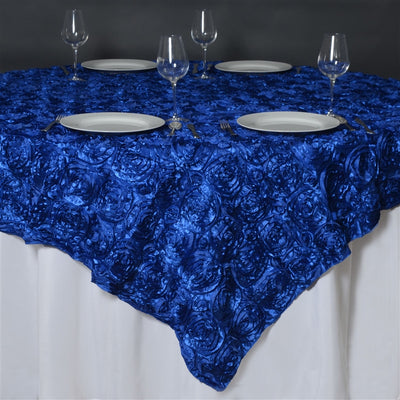 "85""x85"" ROYAL BLUE Wholesale Grandiose Rosette 3D Satin Overlay For Wedding Party Event Decoration"