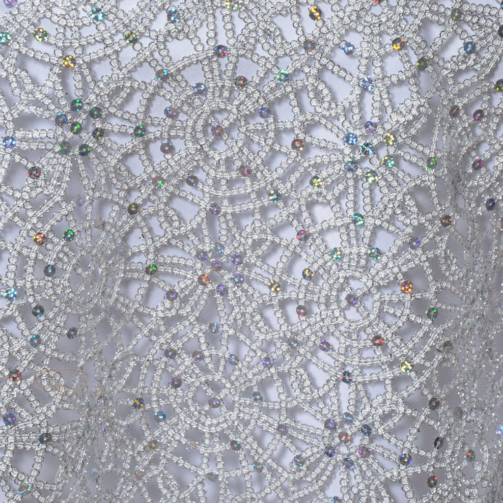 85x85 Quot Silver Sequin Studded Chemical Lace Overlay For