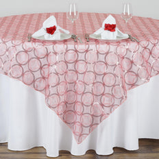 "85x85"" Wedding Rose Quartz Organza Overlay with Sequin Circle Designs for Banquet party Restaurant Table Decoration"