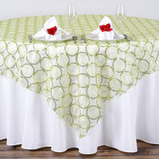 "85x85"" Wedding Tea Green Organza Overlay with Sequin Circle Designs for Banquet party Restaurant Table Decoration"