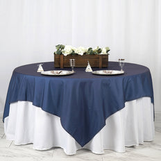 "85"" x 85"" Dark Blue Faux Denim Polyester Table Overlays"