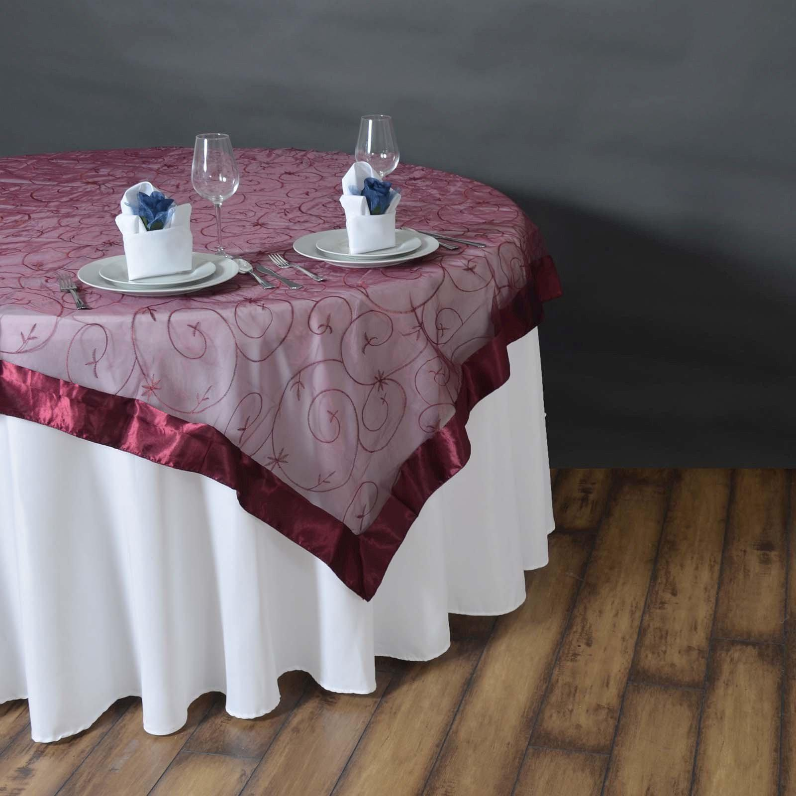 85 overlay embroider burgundy tablecloths factory for 85 table overlay