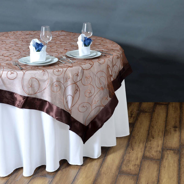 "85"" x 85"" Chocolate Satin Edge Embroidered Sheer Organza Square Table Overlay - Clearance SALE"
