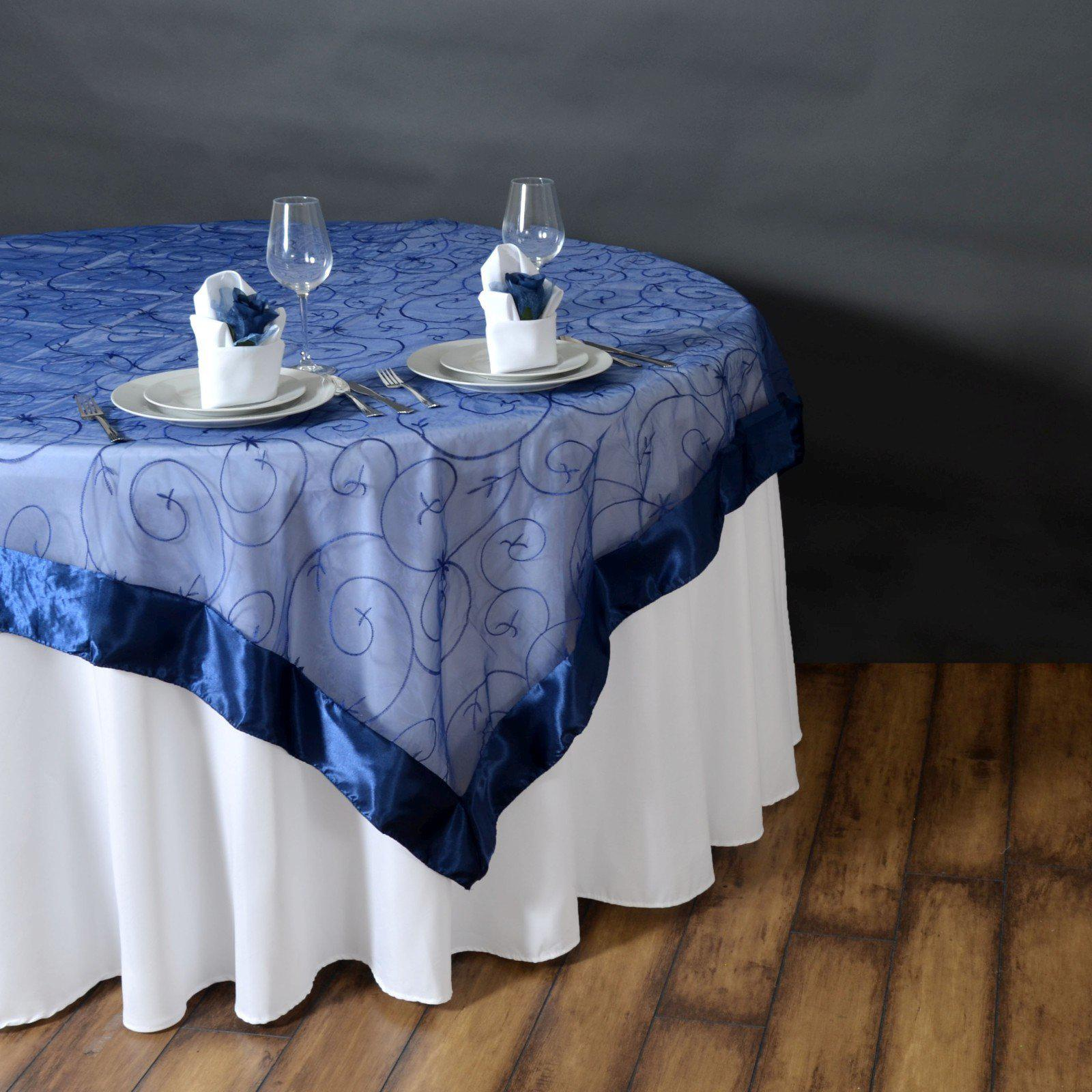 85 overlay embroider navy tablecloths factory for 85 table overlay