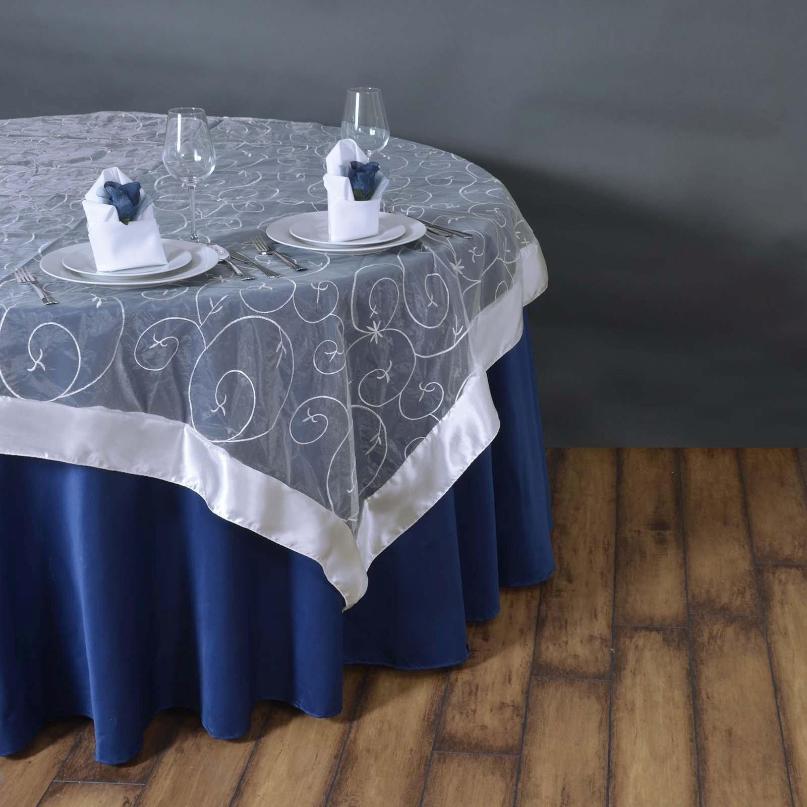 85 overlay embroider white tablecloths factory for 85 table overlay