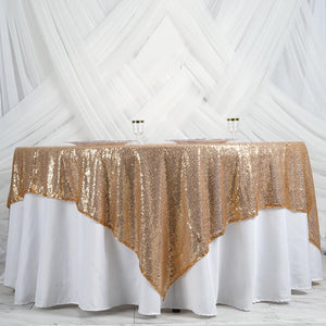 "90"" Premium SEQUIN Square Overlay For Wedding Banquet Catering Party Table Decorations - Gold"