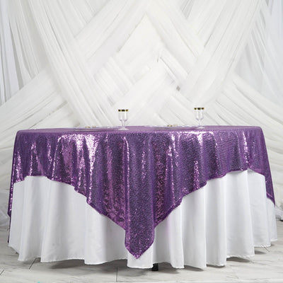"90"" Premium SEQUIN Square Overlay For Wedding Banquet Catering Party Table Decorations - Purple"