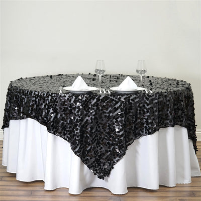 "90"" Premium Big Payette Sequin Overlay For Wedding Banquet Catering Party Table Decorations - Black"