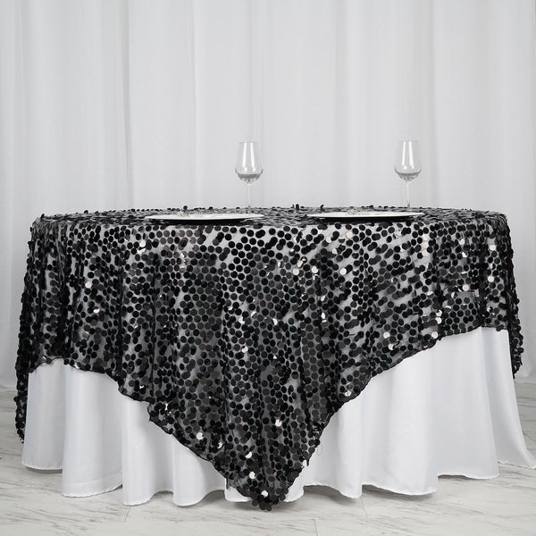 "90""x90"" Black Premium Big Payette Sequin Overlay - Clearance SALE"