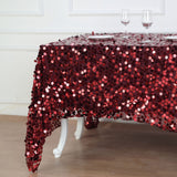 "90""x90"" Burgundy Premium Big Payette Sequin Table Square Overlay - Clearance SALE"