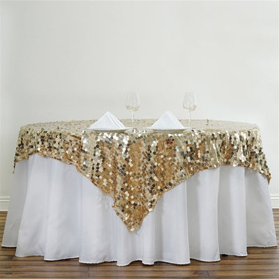 "90"" Premium Big Payette Sequin Overlay For Wedding Banquet Catering Party Table Decorations - Champagne"